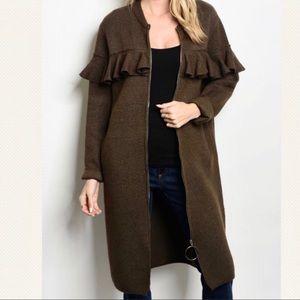 Briony ruffle exposed zipper sweater coat